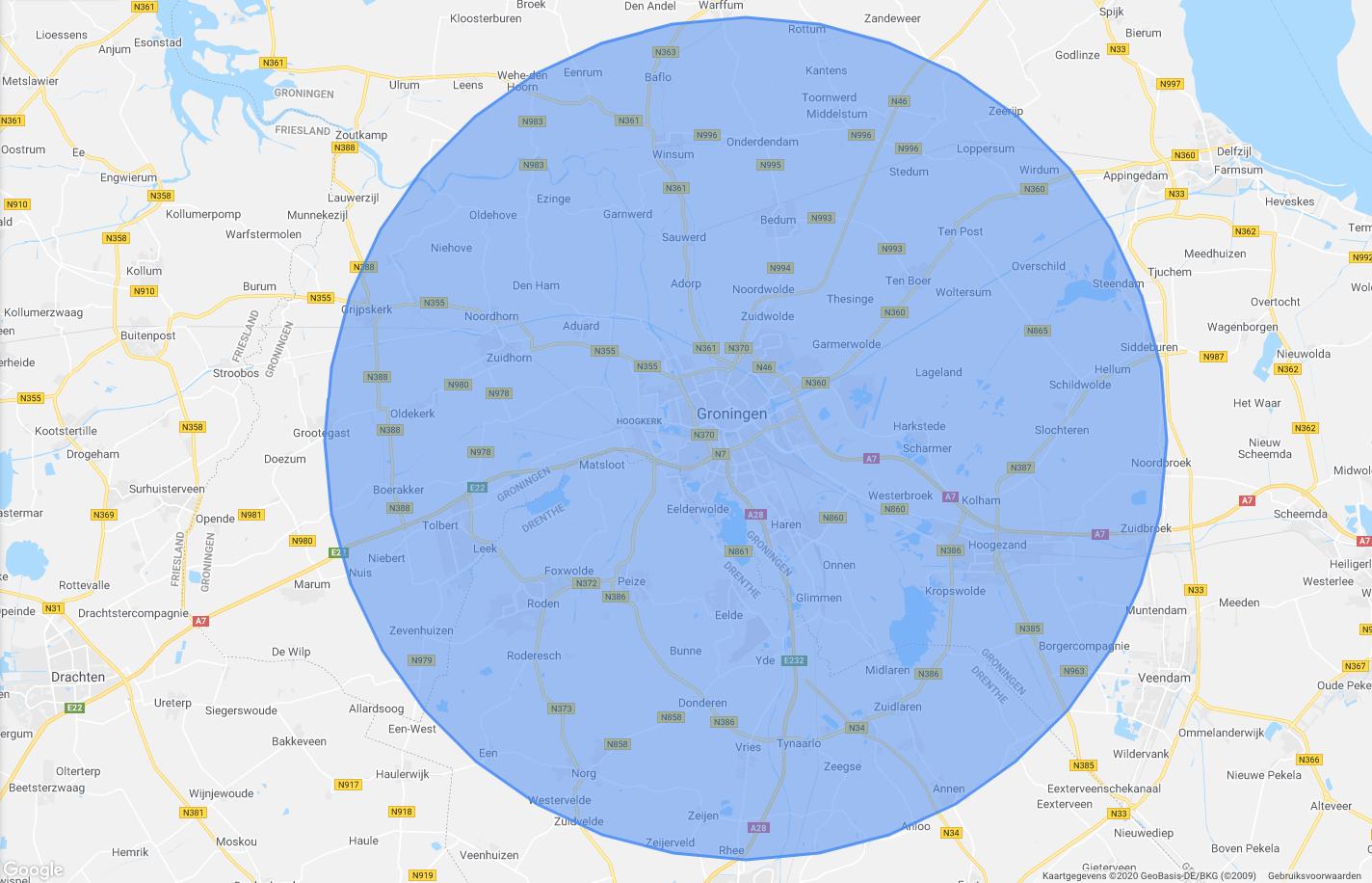 Bezorggebied 20km rondom Tweede Willemstraat 60a 9725JM Groningen